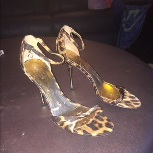 Gold Leopard Guess Stilettos